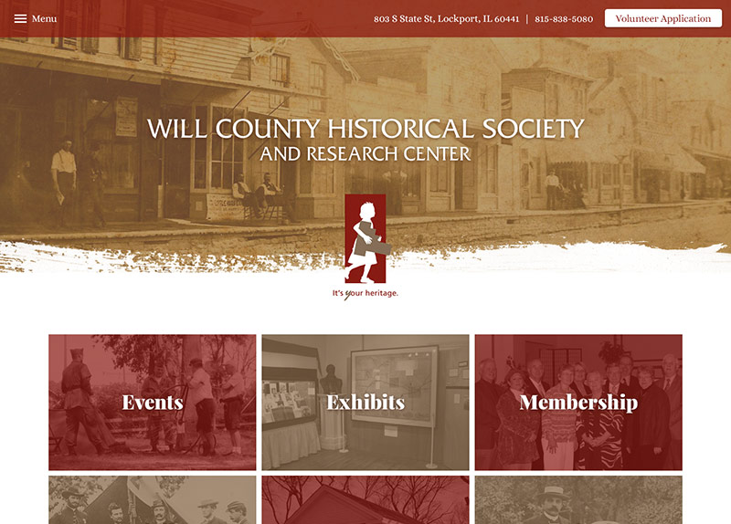 Will County Historical Society website thumbnail