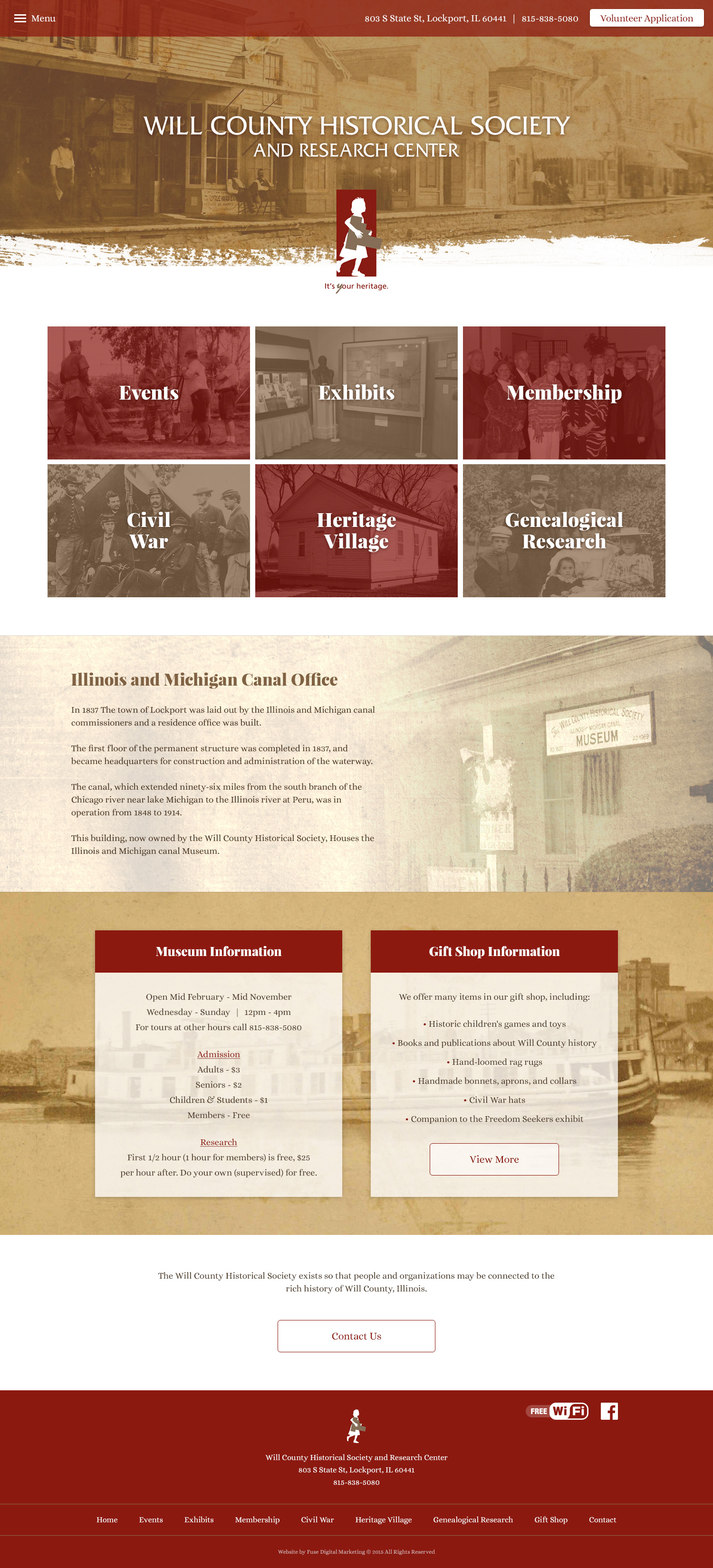 Will County Historical Society website design